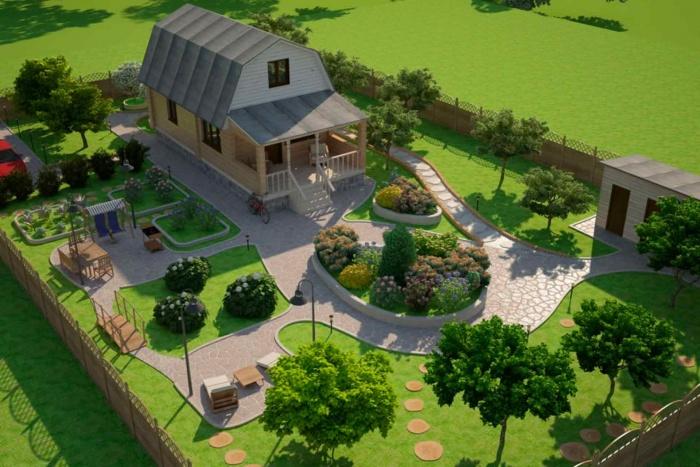 Интерьер участка загородного дома