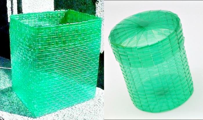 Корзина для белья своими руками из пластмассовых бутылок