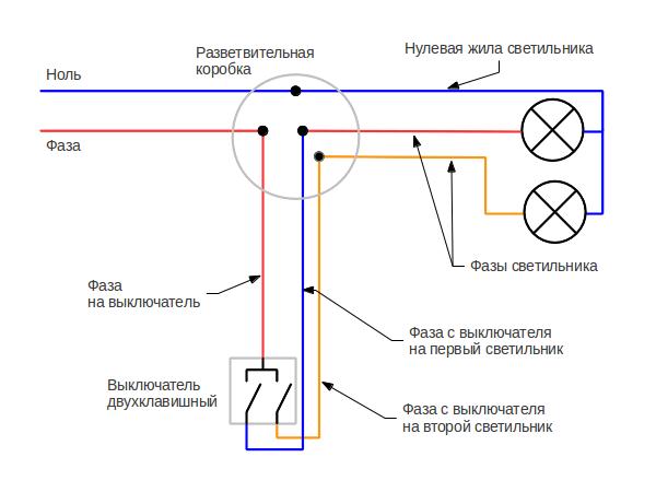 Схема подключения люстры 5 лампочек 758