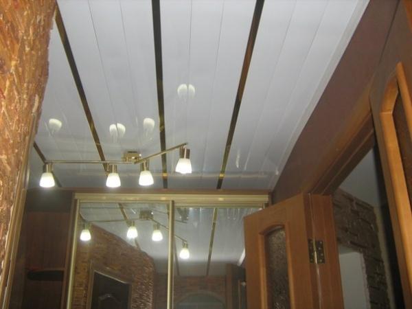 Потолок в прихожей из пластиковых панелей