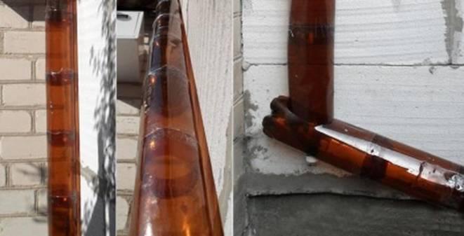 Водосток из пластиковых бутылок 60