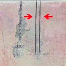 прорезаем две полоски на размеченном участке стены