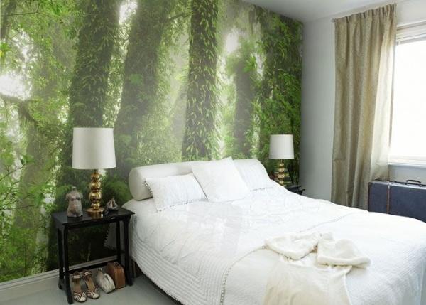 обои зеленый лес