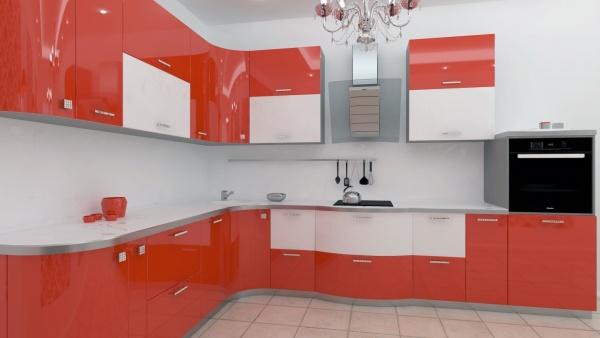 Дизайн кухни красно белой
