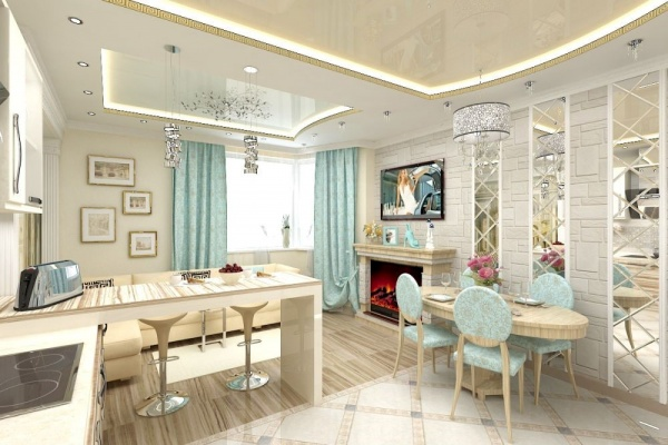 Кухня-гостиная с камином дизайн фото