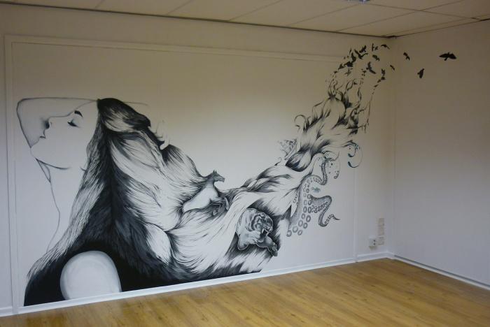 Как нарисовать 3д рисунок на стене