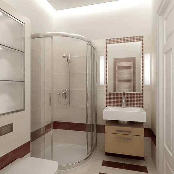 Дизайн ванны с туалетом и душевой кабиной