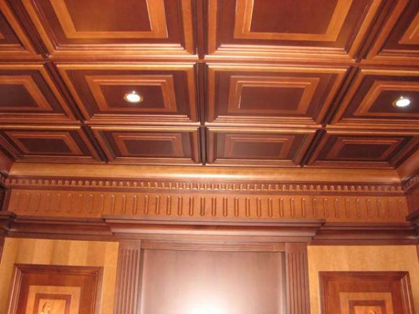 деревянные кессонные потолк