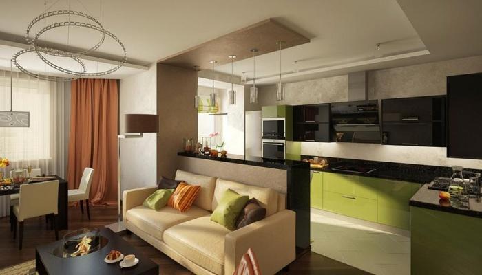 Дизайн гостиной совмещенной с кухней фото 30 кв.м