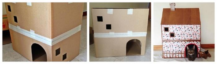 Домик для кошки из футболки своими руками Русский дом, построй и живи в нем!