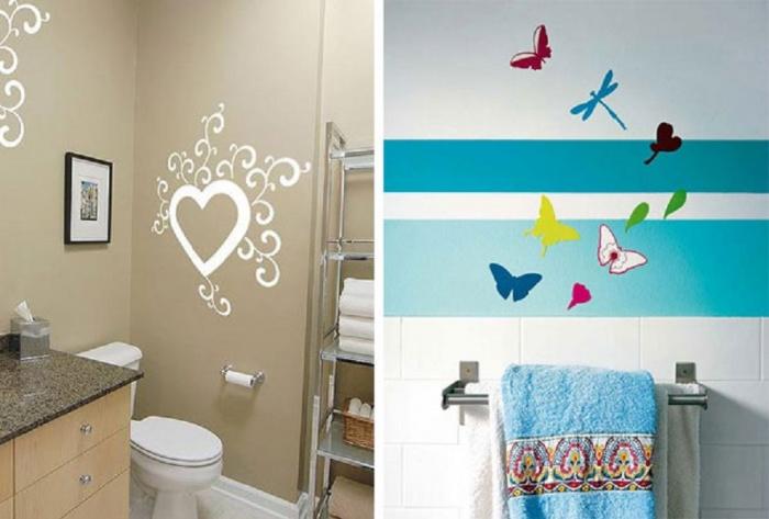 Украсить стену в ванной своими руками
