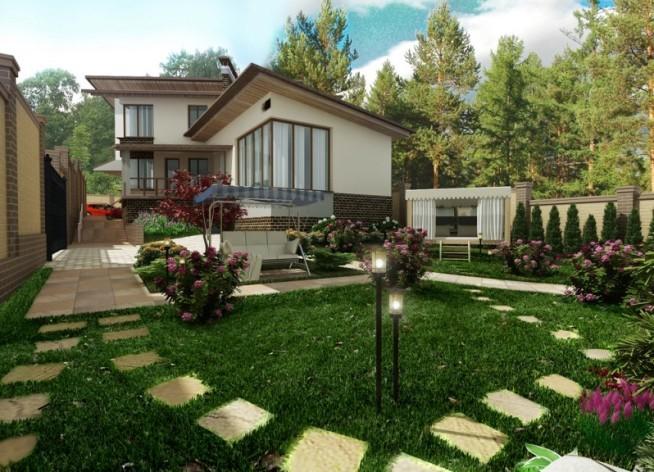 Ландшафтный дизайн частный дом фото