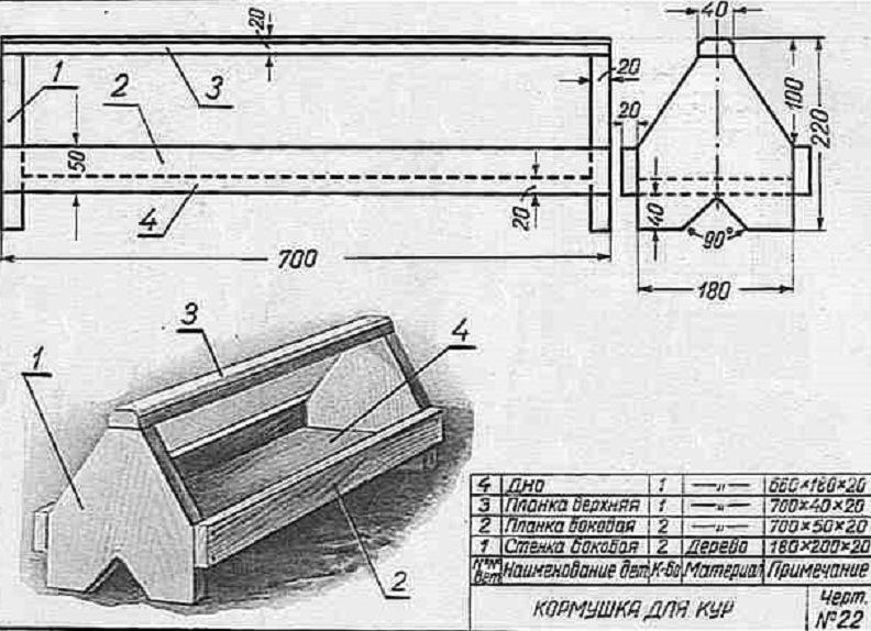 Бункерная кормушка для кур из фанеры своими руками чертежи