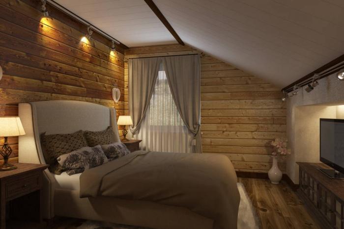 Дизайн спальни в стиле шале