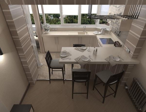 дизайн кухни с совмещенным балконом фото