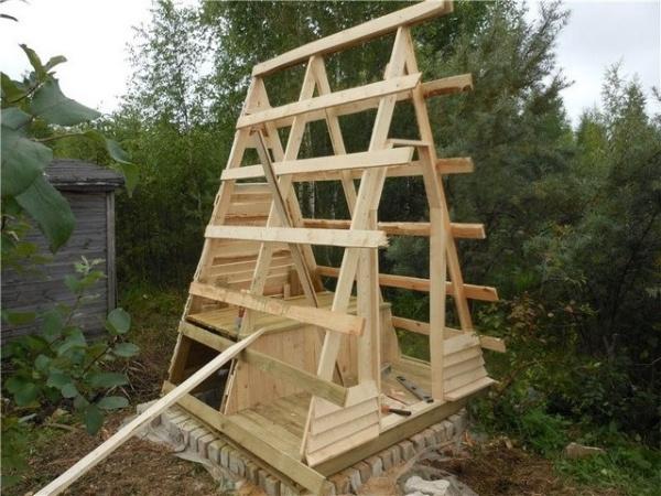 Как построить туалет домиком на даче поэтапно фото