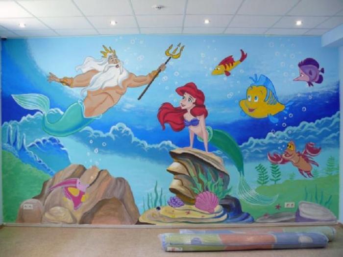 Роспись акриловыми красками стен фото