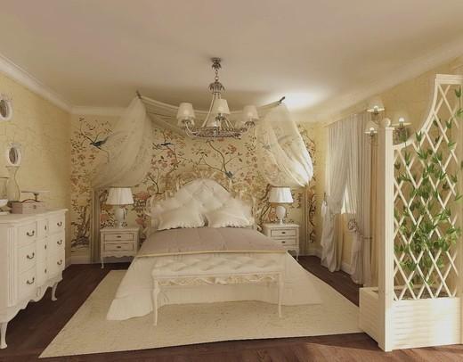 дизайн прованс спальня фото
