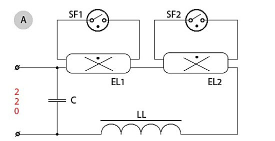 Электронная схема подключения люминесцентных
