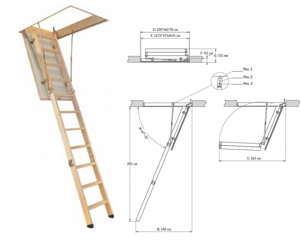 Размеры лестницы на чердак своими руками чертежи