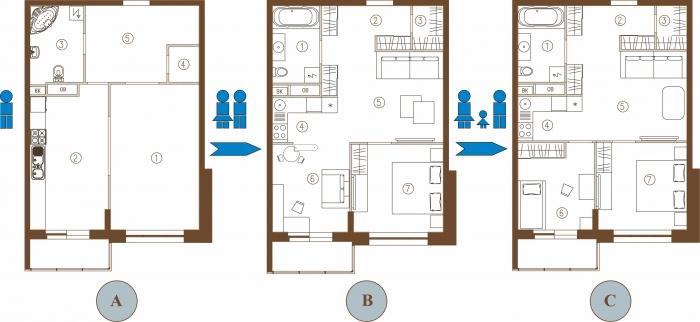 Перепланировка 2 х комнатной квартиры хрущевки фото