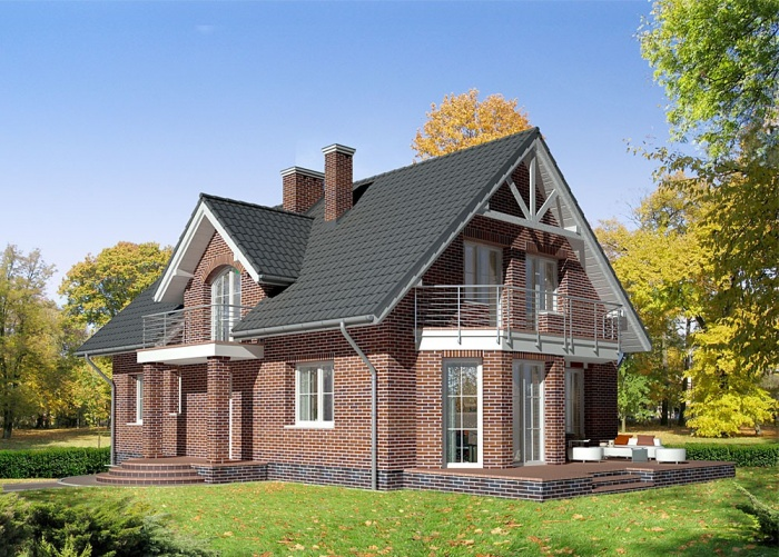 дом с мансардной крышей фото