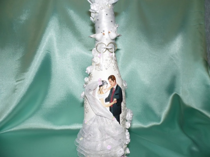 Фото декупаж свадебных бутылок шампанского фото