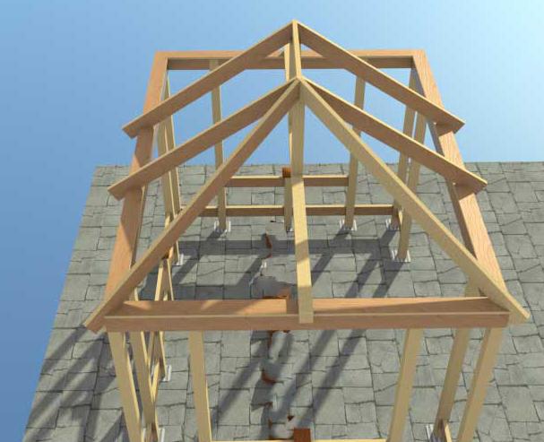 Трехскатная крыша После сборки наиболее сложных элементов трехскатной кровли необходимо зашить поверхность стропил обрешеткой для этого пространство вокруг диагональных
