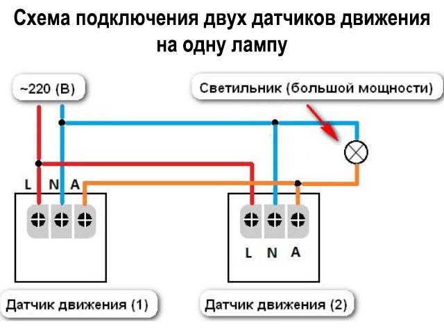 Схема подключения датчика движения sensor
