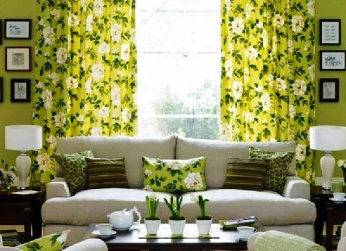 Какого цвета шторы подойдут к зеленым обоям фото