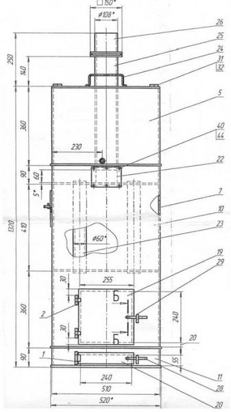 Печки для бани из трубы чертежи