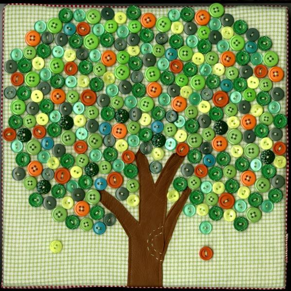 Как сделать картину дерево из пуговиц