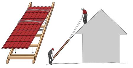 Как поднимать листы на крышу