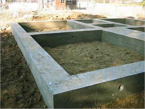 Ленточный фундамент бани из газоблоков