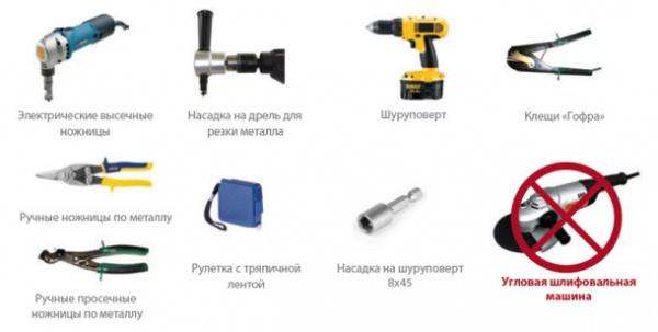 инструменты для покрытие крыши профнастилом