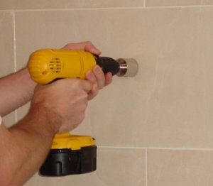 Drill through ceramic tile