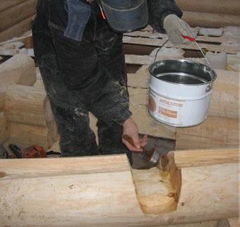 обработка сруба бани