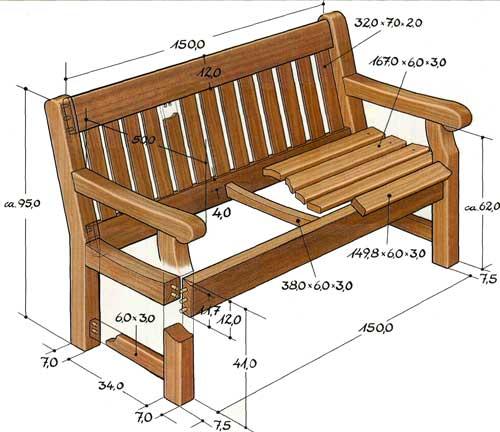 Скамейка для беседки своими руками из дерева чертежи