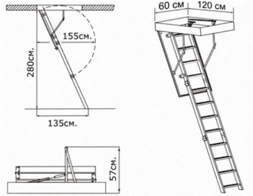 Монтаж чердачных лестниц с видео